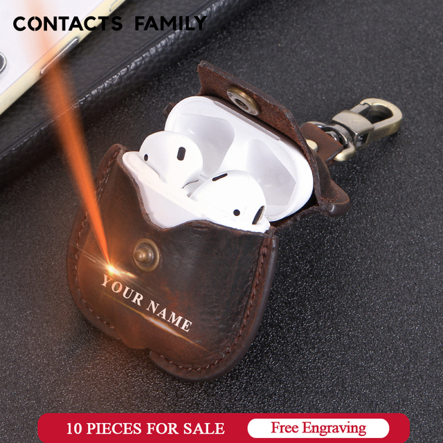 Leather Airpods Case For Apple Airpods Bluetooth Earphone Charging Box Accessories Bag Key Strap with Buttons Headphone Cover