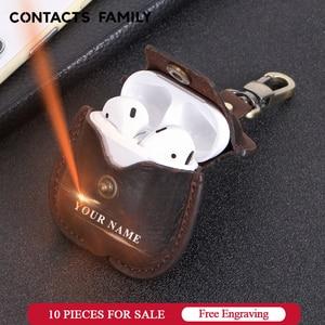 Image 1 - Skórzane etui Airpods do Apple Airpods Bluetooth ładowanie słuchawek Box akcesoria torba kluczowy pasek z przyciskami pokrowiec na słuchawki