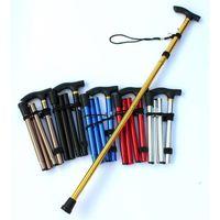 T-핸들 워킹 스틱 텔레스코픽 트레킹로드 알루미늄 합금 폴딩 지팡이 미끄럼 방지 등산 목발 27RD