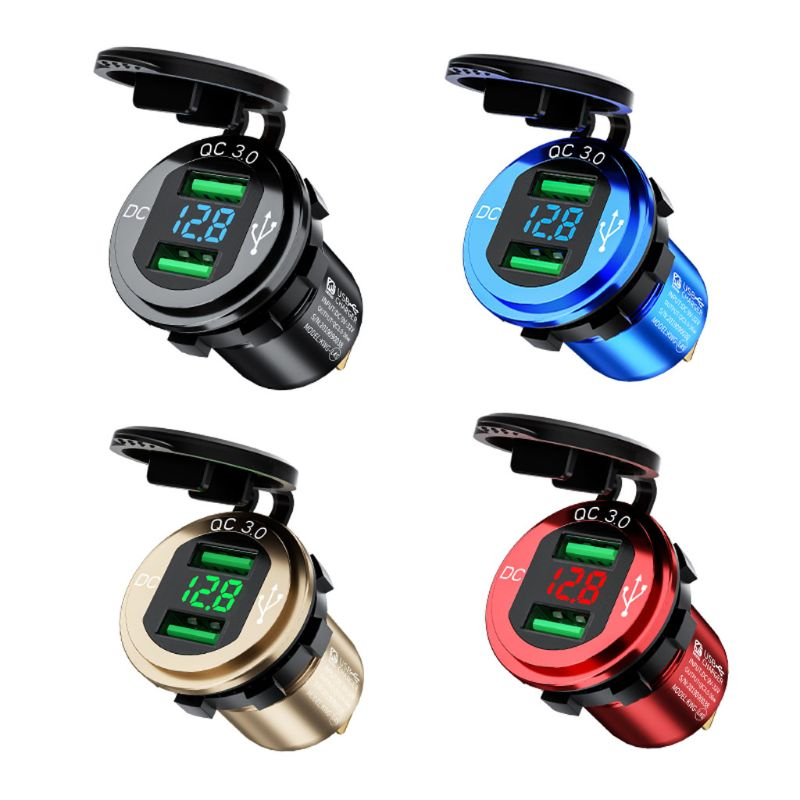 Socket Led-Voltmeter Power-Outlet Marine-Truck Fast-Charger Waterproof 12V/24V Aluminum title=