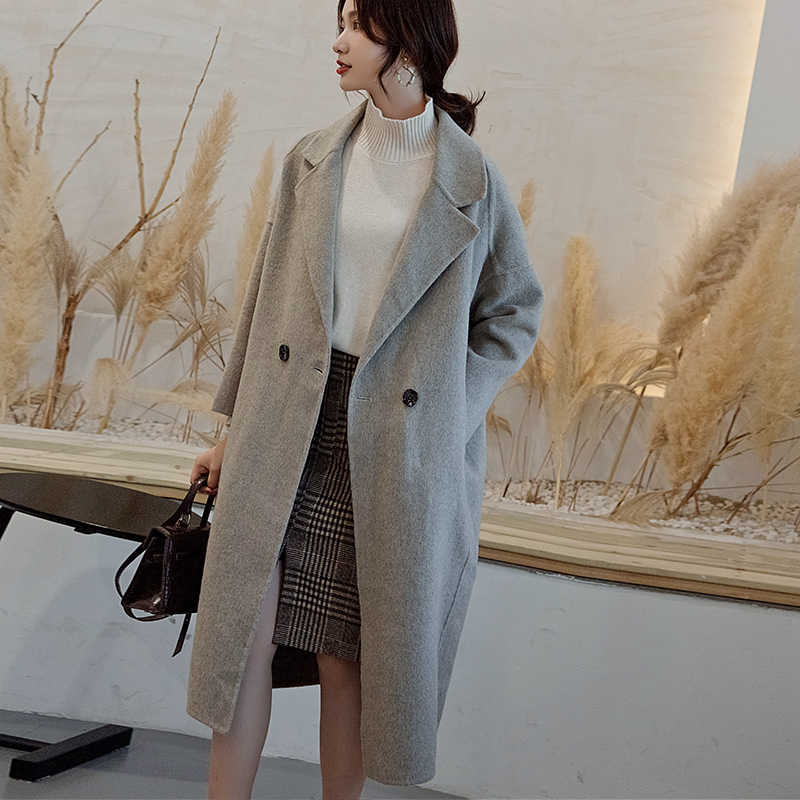 Women's coat 2019 winter new double-sided pure wool coat long loose thickening one buckle cashmere coat