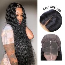 180% brasileiro onda profunda do laço frontal remy perucas de cabelo humano encaracolado profundo pré-arrancado 4x4 perucas de fechamento de renda para preto