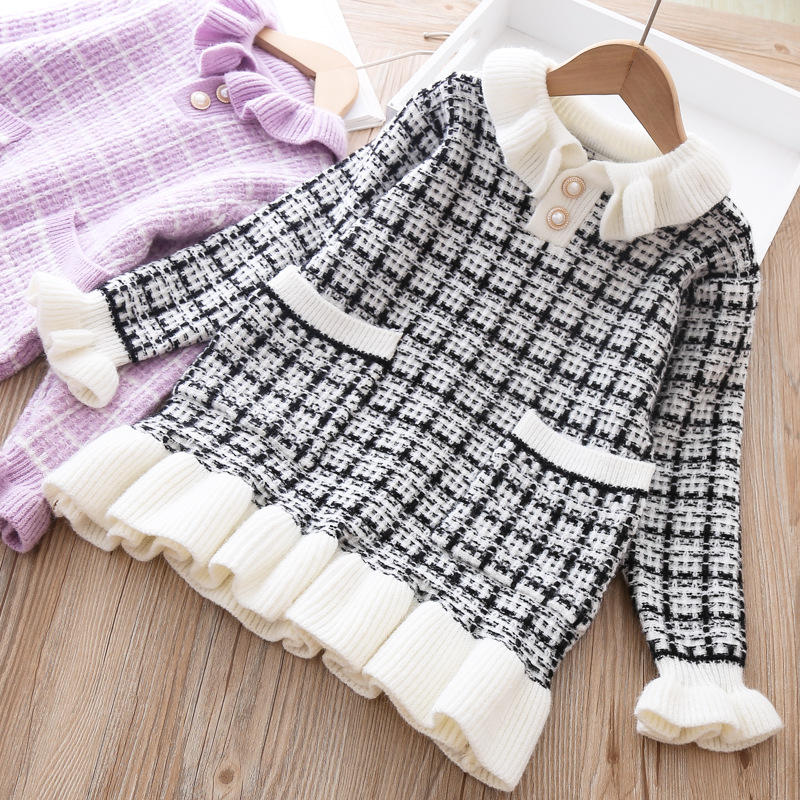 Baby Girls Knitted Dress Sweater shirt Infant Toddler Girl Pullover Child Warm Clothes Undershirts For Winter Autumn Dresses 1