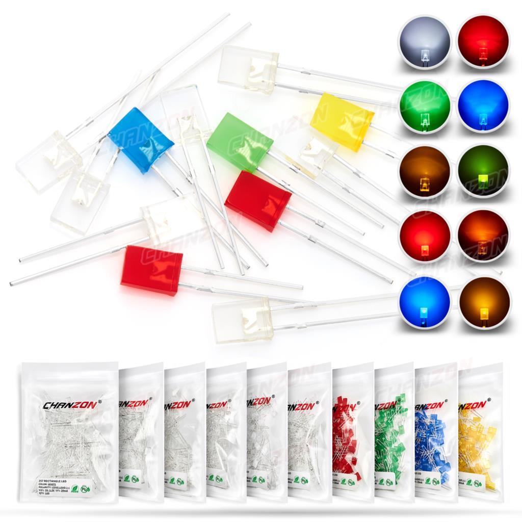 Прямоугольные светодиодные светоизлучающие диоды, 100 шт., 2x5x7, белые, красные, зеленые, синие, желтые, оранжевые, прозрачные, рассеянные цвета,...