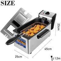 Friteuse électrique 3l, Thermostat de cuisine, four, Pot chaud, poulet frit, gril, Thermostat réglable 6