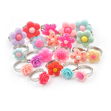 Rings Rose-Flower Kids Diy-Craft-Toys Gift Colorful Children 5pcs Clay Polymer Adjustable-Size
