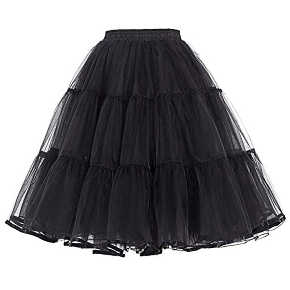 Women Petticoat Under Dress 60CM Length Bridal Party Petticoat Waist Size for 60-100CM Adjust  Summer Crinoline No Hoop