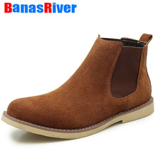 High Quality Outdoor Winter Warm Plush Men Boots Elastic band Cow Suede Chelsea Non-slip Snow Handma