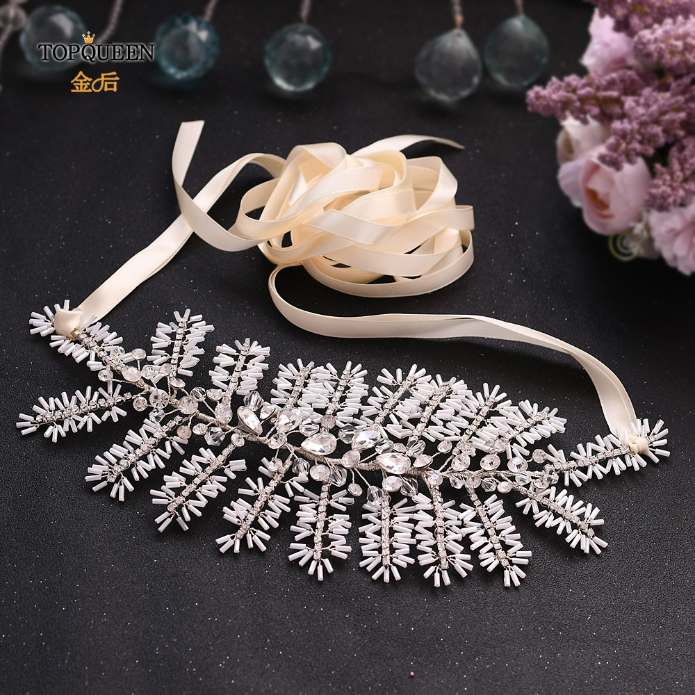 TOPQUEEN Wedding Waist Belts Women Fashion Jewel Belt For Women Silver Belts For Women White Light Tube Sash For Dress SH247