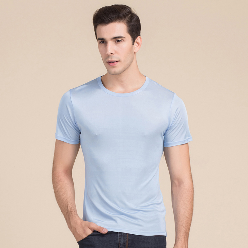 2019 Summer Knitted Silk T Shirts  Men Short Sleeves Shirt Tops Fitness Breathable Casual