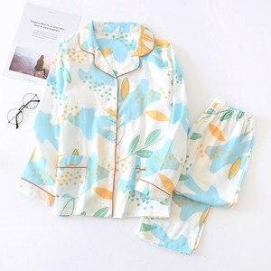 Image 5 - Simple Polka Dot pajamas sets women 100% cotton Spring Japanese Casual women sleepwear long sleeve pyjamas