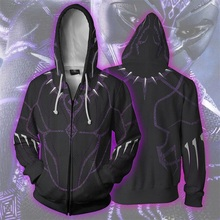 цена Black Panther T'Challa 3D Print Hoodies Sweatshirts Cosplay Hooded Casual Coat Jacket онлайн в 2017 году
