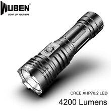 Siêu Mạnh Mẽ LED CREE XHP70 LED Cao Cấp 4200lm Đèn Đèn Pin Pin 26650 Chống Thấm Nước Nhẹ Dành Cho Cắm Trại Ngoài Trời