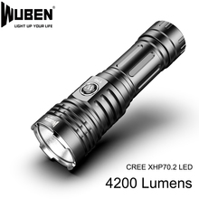 سوبر قوية مصباح ليد جيب كري XHP70 مصباح LED عالي الطاقة 4200lm مصباح الشعلة 26650 بطارية ضوء مقاوم للماء للتخييم في الهواء الطلق