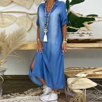 Женское джинсовое платье с разрезом, Ковбойское длинное летнее платье с коротким рукавом и v-образным вырезом, платье до щиколотки, модель # ...