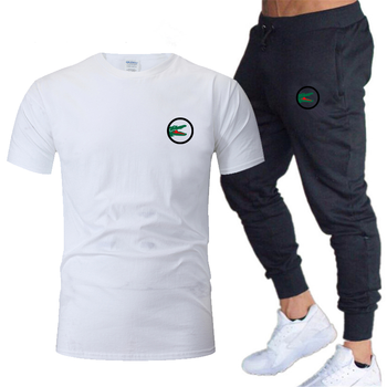 2020 Fashion New Men's Sportswear Two-piece Short-sleeved Shirt + Pants Sweatshirt Spring And Summer Sportswear Brand Clothing