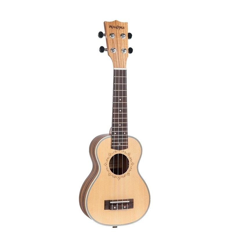NAOMI Ukulele Solid Spruce Top Zebrawood Back Mahogany Ukulele 4 String Hawaii Guitar Soprano Ukulele
