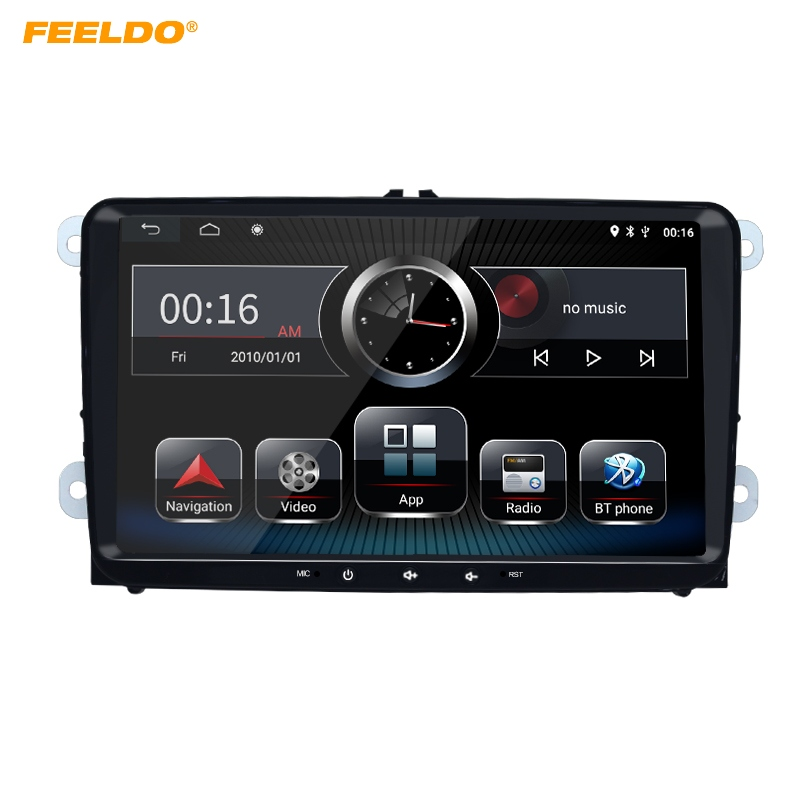 FEELDO 9inch Ultra Slim Android 8.1 Car Media Player With GPS Navi <font><b>Radio</b></font> For <font><b>VW</b></font> Golf 5/6/Polo/Passat/Jetta/Tiguan/<font><b>Touran</b></font> image