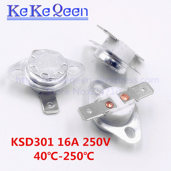KSD301 250V 16A 140~250Degc Temperature switch Normally closed Flat foot Fixed ring 150 165 175 180 190 195 200 210 220 240 250C image