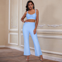 Ocstrade Blue Two Piece Bandage Set 2020 Summer Crop Top and