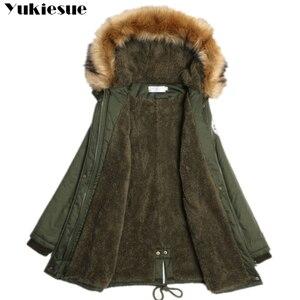 Image 3 - Mode Herfst Warm Winter Jassen Vrouwen Bontkraag Lange Parka Plus Size Revers Casual Katoen Womens Uitloper Park Plus Size