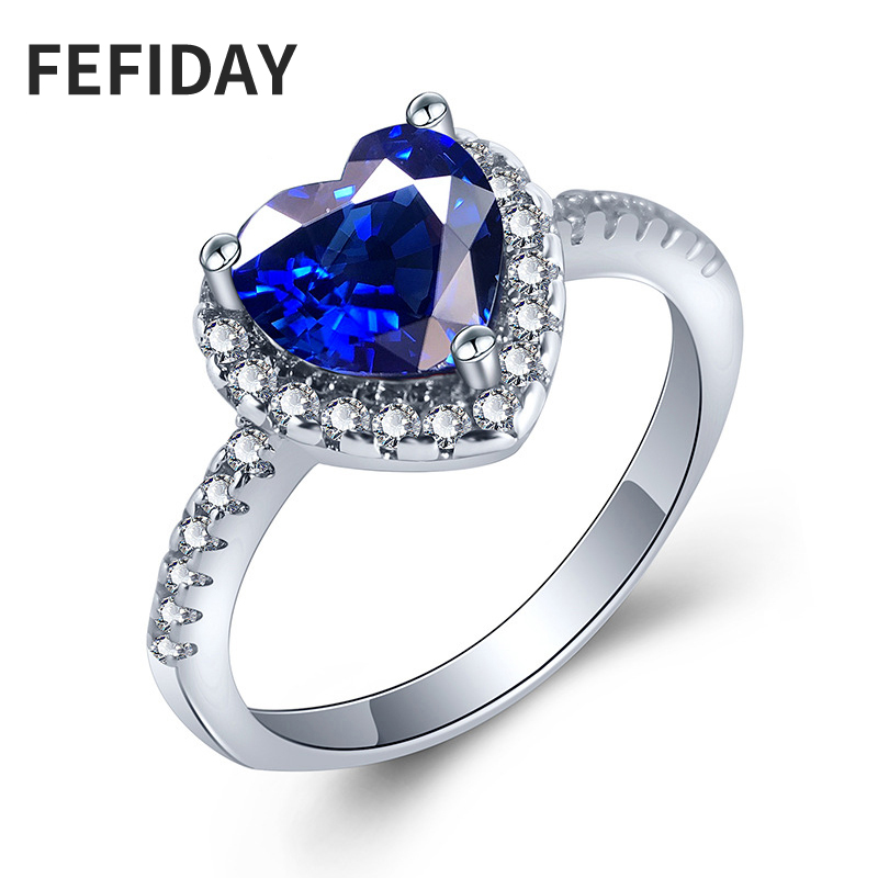 FEFIDAY Female Promise Engagement Love Heart Ring Blue Stone Discount Sale Finger Wedding Jewelry Rings Heart Rings For Women(China)