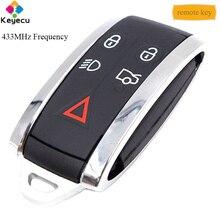 Llave remota inteligente para coche reemplazo KEYECU, 434MHz, 4 + 1/ 5 botones, hoja de inserción, FOB para Jaguar XF XFR XK XKR 2009 2010 2012 2013