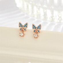 цена на Rose Golden Luxury Small Cute Butterfly Silver Earrings 925 Blue Zircon Studs Earrings Women Fashion Earrings 2019 Accessories
