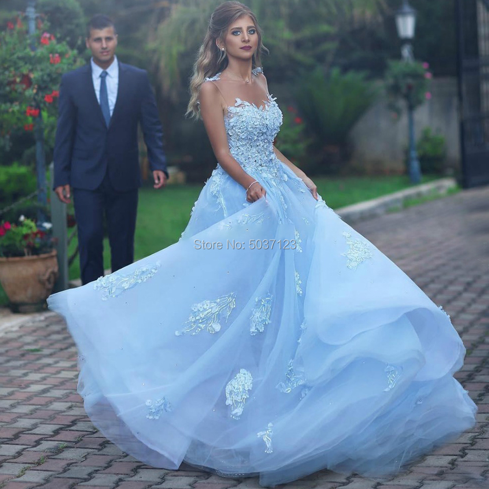Sky Blue Wedding Dresses A Line Scoop Sleeveless Open Back Lace Appliques Sweep Train Bridal Gowns Robe De Mariee