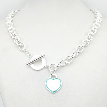 Sterling Silver 925 Classic Fashion Exclusive Blue Enamel Heart Tag Pendant Women's Necklace Jewelry