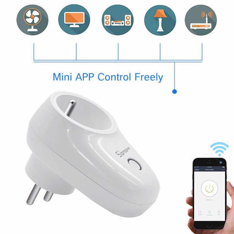 Sonoff S26 podstawowe WiFi inteligentna wtyczka zasilania monitora ue/usa/UK/CN/AU pilot zdalnego sterowania inteligentnego domu inteligentne gniazdo praca z Google Alexa domu IFTTT