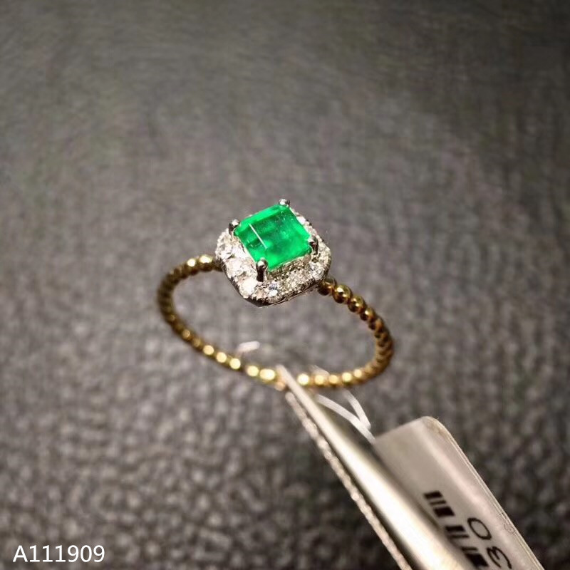 KJJEAXCMY boutique jewelry 925 sterling silver inlaid natural emerald gemstone female ring support detection beautiful