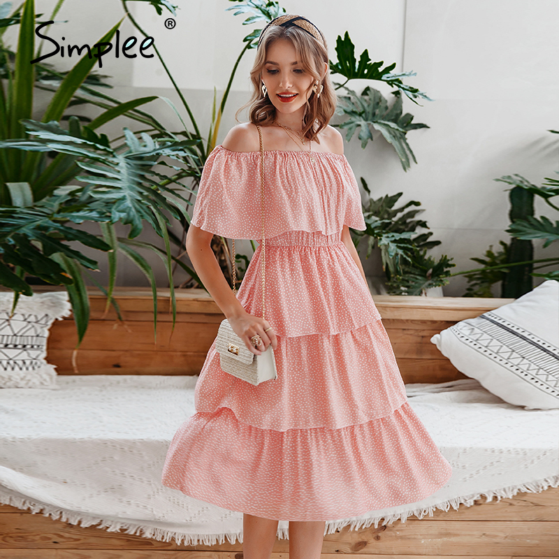 Simplee Sexy Off Shoulder Women Summer Dress Elegant Dot Print Short Sleeve Cake Sundress Holiday Beach Ladies Midi Dress 2020