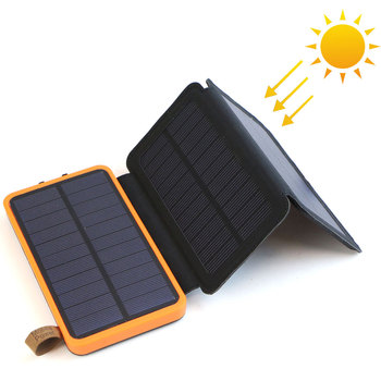 Foldable and Dual USB Output Solar Power Bank with 10000mAh Li-Polymer Battery and Built-in LED
