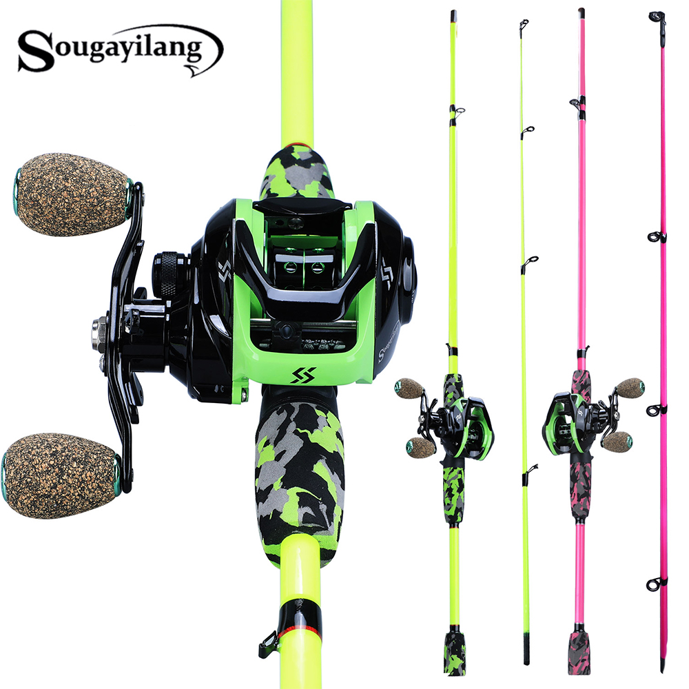 Sougayilang Super Light 185cm Casting Fishing Rod Lure Rod 2 Section Ultralight Weight Fishing Rod Set Casting Fsihing Reels Set