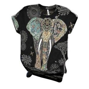 Женская футболка с принтом слона из мультфильма, футболка с коротким рукавом и принтом животных, повседневные топы с круглым вырезом и принтом животных, размеры 5XL