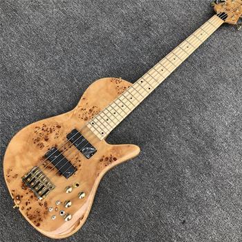Motyl naturalny 5 struny gitara basowa szyja przez ciało na zamówienie z fabryki złoty sprzęt drewno jesionowe elektryczna gitara basowa gitara tanie i dobre opinie GROTE Cypress mourning Maple Strona główna-schooling Profesjonalna wydajność Beginner Unisex CN (pochodzenie) Brazylia drewna