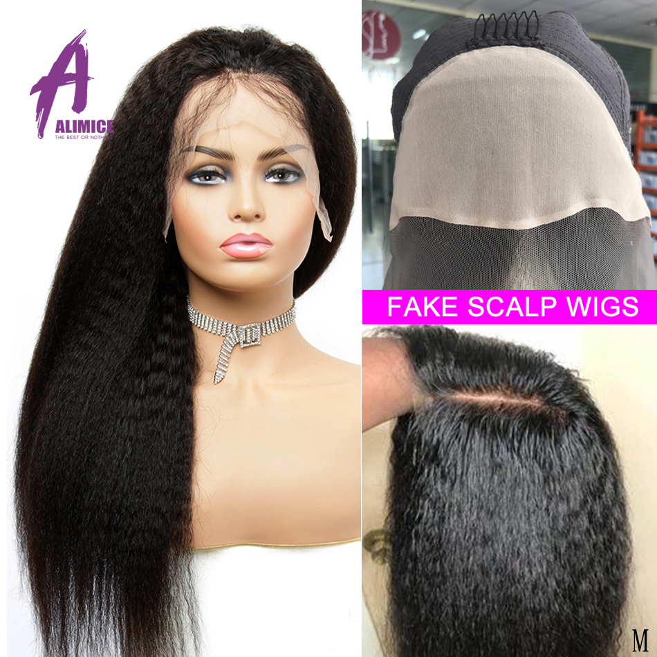 Fake Scalp 13*4 Kinky Straight Hair Lace Front Wig Bleached Knots Lace Front Human Hair Wigs 150% Alimice Brazilian Remy Hair