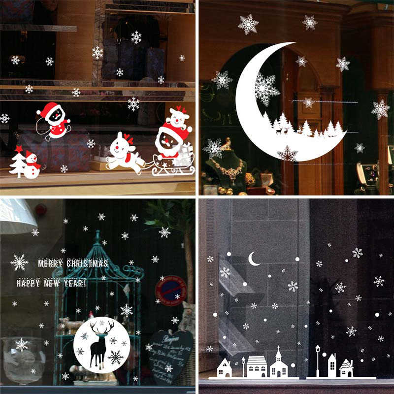 Christmas Window Stickers Santa Claus Snowman Elk Sticker Merry Christmas Decorations for Home Navidad 2019 Happy New Year 2020