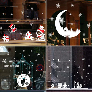 Christmas Window Stickers Santa Claus Snowman Elk Sticker Merry Christmas Decorations for Home Navidad 2020 Happy New Year 2021
