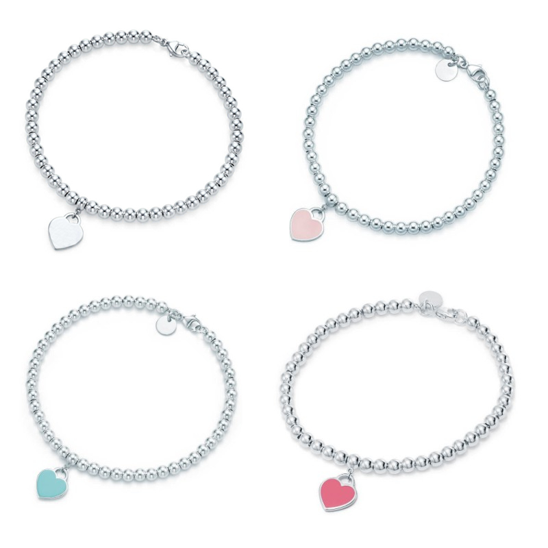 TIF Heart Bracelet Sterling Silver, Classic Chain Three Colors Do Not Decolorize The Chain To Send His Girlfriend Holiday Gift