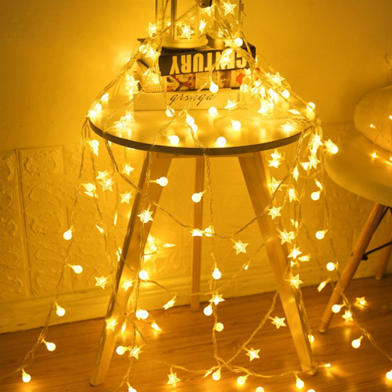 Five-pointed  Star Decorative Lantern Led Gypsophilal Light String Girl Heart Room Decoration Lamp Birthday Holiday