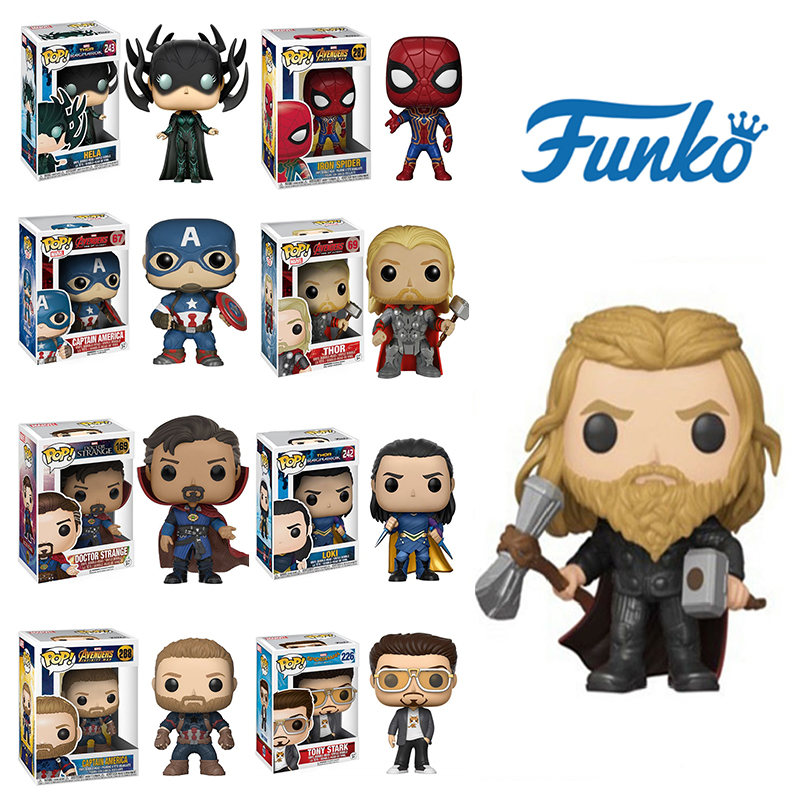 Funko Pop Black Widow SpiderMan Marvel  Iron Man Captain America Thor Vinyl Action Figure Children's Gift