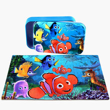 Free shipping children cartoon jigsaw puzzle. 60PCS tin box puzzle, Film and television puzzles, Kids earl toys