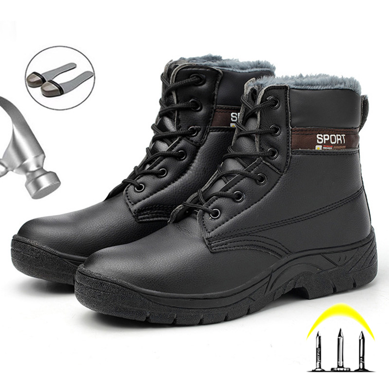 Steel Toe Work Safety Boots Plush Warm Ankle Boots Winter Shoes Men Boots Safety Shoes Winter Boots Men Work Boots Plus Size 46