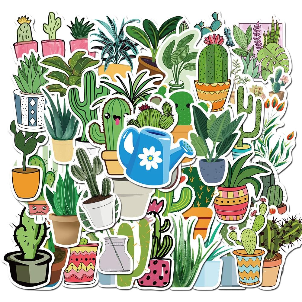 45 pcs/set Cute Fresh Pot Cultured Cactus Plants Waterproof PVC Stickers for Luggage Scrapbooking DI