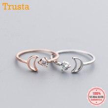 Trusta 100% maciza 925 plata esterlina Real de las mujeres de la moda Rosa Luna de plata anillos de apertura tamaño 5 5 5 6 6 7 para chicas adolescentes de DS1049