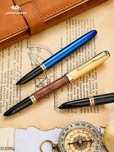Jinhao 85 reto pro caneta tinteiro, tampa de cobre barril madeira, clipe de seta ouro, ponta de escrita extra fina, escola assinatura do escritório f214