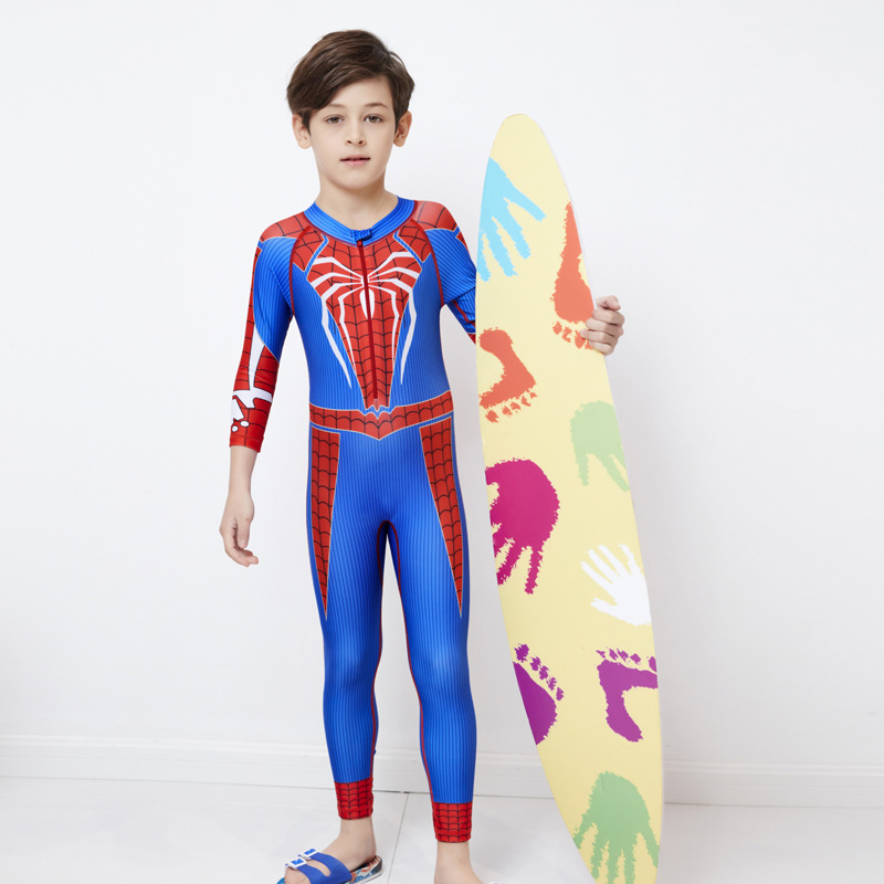 KID'S Swimwear BOY'S One-piece Long Sleeve Trousers Spider-Man Swimwear Big Boy Students Baby Quick-Dry Sun-resistant Warm
