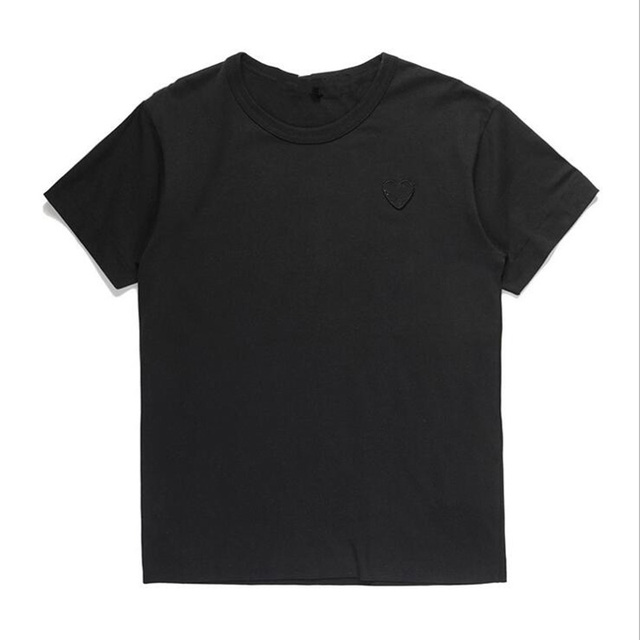 (Have Eyes)Men Women New T-shirt Round Neck Cotton Short Sleeve Embroidery Love-Heart Black Heart Spring Summer Loose T-shirt 3